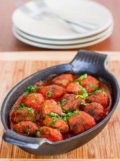 Spicy Ricotta Meatballs in Tomato Sauce - make sure to use GF breadcrumbs
