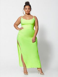 8ce72a599bb Stefani Neon Slip Maxi Dress