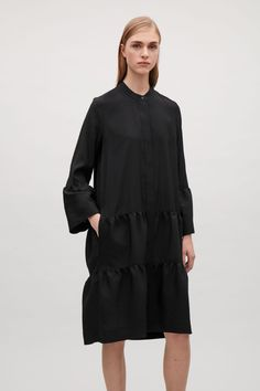 COS image 2 of Shirt dress with gathered detail  in Black