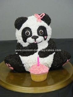 Homemade Panda Bear Party Cake: For our daughter's 1st birthday, we decided that we wanted to have a panda party (she loves pandas). I found a 3D Wilton cake mold in the shape of a bear.