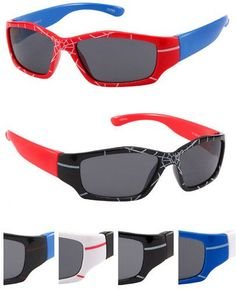 Kids Sunglasses with Spider Webs Assorted Colors Case Pack 24