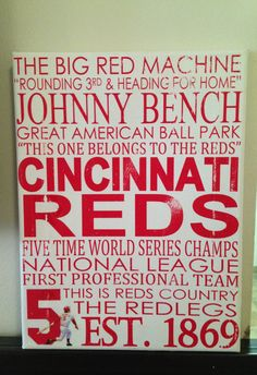 9 x 12 Subway Art Canvas : Cincinnati Reds by CreationsbyCLM, $22.00