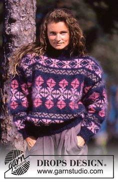 """DROPS 20-20 - DROPS jumper with pattern borders in """"Vienna"""". Ladies and Men's size S – L. - Free pattern by DROPS Design"""