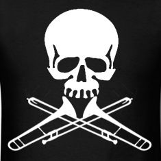 Skull with Trombone Crossbones