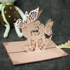 Red Iridescent Paper 3D Butterfly Paper Sculpture Model DIY Handcraft Creative Birthday Greeting Card