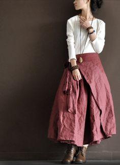 旧红-绣花系带半身裙