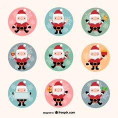 Collection Père Noël Vecteur gratuit