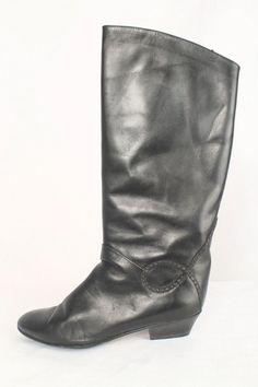 Vintage Moda Italica Size 7B Black Leather Riding Boots 701 B816  | eBay
