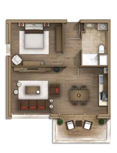 Floor plan rendering 29 by Alberto Talens Fernández at Small Apartment Plans, Studio Apartment Floor Plans, Studio Apartment Layout, Studio Floor Plans, Sims House Plans, Small House Plans, House Floor Plans, Dream House Plans, The Plan
