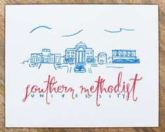 Southern Methodist University SMU Watercolor by TreadStudios