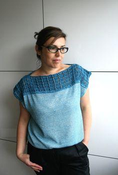 Crochet pattern, Blue wave crochet and fabric T-shirt, women crochet top pattern, Instant download #crochetpattern #crochet