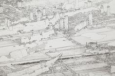 Tokio山水(東京圖 2012)/部分 2012 キャンバスに墨 四曲一双 各162×342cm Work created with the support of Fondation d'entreprise Hermès 撮影:木奥恵三 © YAMAGUCHI Akira, Courtesy Mizuma Art Gallery