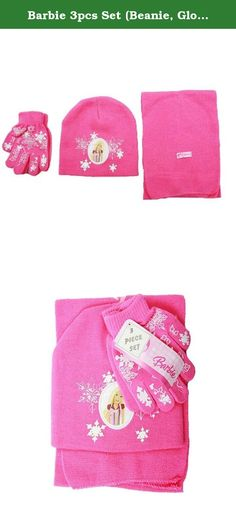 """Barbie 3pcs Set (Beanie, Glove, Scarf). Embellished with Applique, Accent,Stitching, Detailed Embroidered Accents Set comes with 1 Beanie and 1 Pair of gloves Knitted Construction with magic Stretchable Gloves Fits usually 4-8 years old Beabie Measure ; approx. 8 x 7.5"""" Officially Licensed Product !!."""