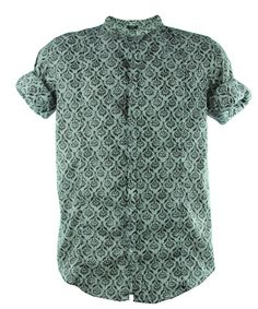 Tab collar Shirt with bottons in wallpaper print