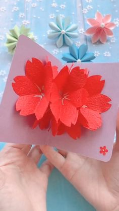 A simple tutorial to show you how to DIY Beautiful Flower Card. paper flowers easy for kids simple DIY Beautiful Flower Card Cool Paper Crafts, Paper Crafts Origami, Diy Crafts For Gifts, Diy Paper, Card Crafts, Handmade Birthday Cards, Diy Birthday, Greeting Cards Handmade, Birthday Card Pop Up