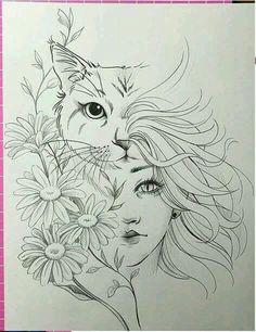 Cat Beautiful Drawing Image Design Design Cat Beautiful Drawing Image Design Design Schablone The post Cat Beautiful Drawing Image Design Design appeared first on Katzen. Pencil Art Drawings, Art Drawings Sketches, Cat Drawing, Tattoo Drawings, Drawing Tips, Drawing Faces, Horse Drawings, Tattoo Sketches, Beautiful Drawings