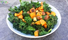 A very simple healthy vegan meal to put together. It requires minimal skill in the kitchen and provides maximum taste! Kale Chips, Delicious Vegan Recipes, Yams, Palak Paneer, Cubes, Tofu, Fruit, Healthy, Ethnic Recipes