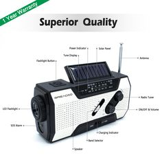 This emergency radio come with a 1W very bright ZOOM LED torch and 4-LED Reading Lamp, support you to walk on the outside at night