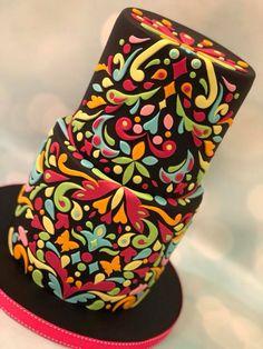 Bright mandala pattern cake birthday celebration asian Beautiful Cake Designs, Beautiful Cakes, Amazing Cakes, Mehndi Cake, Fondant, Superman Cakes, Blush Wedding Cakes, Patterned Cake, Girly Cakes