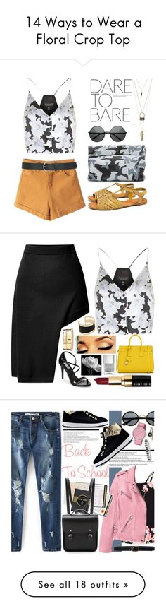 """14 Ways to Wear a Floral Crop Top"" by polyvore-editorial ❤ liked on Polyvore featuring floralcroptop, waystowear, Topshop, F, Marie Turnor, Charlotte Russe, M&Co, contest, Opening Ceremony and Steve Madden"