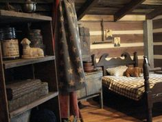 My kind of bedroom!!!      Cinnamon Creek Cabin- Love the bed
