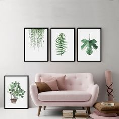 Green Plants Canvas Painting Foliage Mix Modern Simple Decorative Painting