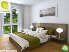 Schlafzimmer Illustration - Neue Mitte Neufahrn #NeueMitteNeufahrn #Illustration #Visualisierung #Architektur #Neubau #Neubauprojekt #Eigentumswohnungen #Schlafzimmer #Wohnidee #Dekoration #Neufahrn #München