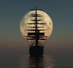 Ship sailing towards the moon