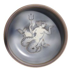"""""""Mermaid with Trident,""""  Art Deco Bowl by Nylund, 1944"""