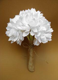 Wedding Rustic Paper Flowers Bouquet/ Wedding Bouquet/ Rustic Wedding/ Wedding Decor/ White Flowers/ Bridal/ Bridesmaid on Etsy, $20.76