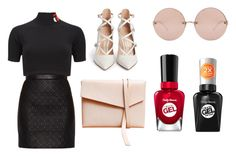 """""""little black everything"""" by shellandciara on Polyvore featuring Linda Farrow, T By Alexander Wang, Jason Wu, Gianvito Rossi and Sally Hansen"""