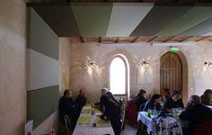 Stereo panels. Restaurant la maison des jardiniers Parc Majolan, Blanquefort (33).<br>Architect  Fabien Pédelaborde, Bordeaux. Photo Presse Papier communication.