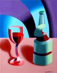 """Mark Adam Webster - Abstract Futurist Wine with Bottle Still Life. 14x11"""" Oil on Canvas.  http://markadamwebster.com/workszoom/430667"""