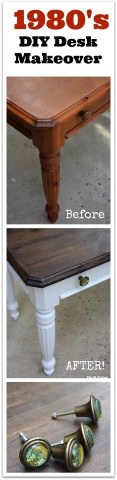 But see how this DIY desk makeover went from outdated orange wood to a classic stained top and painted body! Diy Furniture Projects, Repurposed Furniture, Painted Furniture, Pipe Furniture, Diy Projects, Inexpensive Home Decor, Cheap Home Decor, Diy Home Decor, Desk Makeover