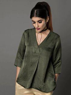 Military Green Satin Linen Top By Ritu Jain Singh