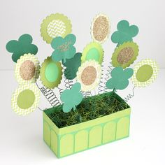 Springy Shamrock Arrangement in Planter Box // St. Patrick's Day Silhouette project