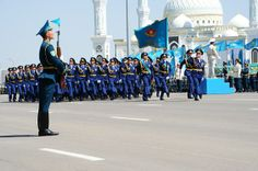 Kazakh Air Force officers marching down Astana's Independence Square in the 2014 Kazakhstan Armed Forces Day Parade.