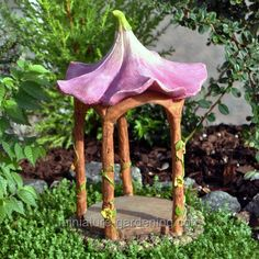 Miniature Gardening - Flower Top Gazebo >#fairy  #garden