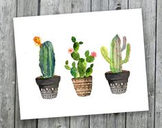 Cacti art print Printable art Watercolor cactus painting watercolor botanical decor Printable wall art watercolor cacti art house plant - Cacti art print Watercolor cactus Hand painted by SouthPacific You are in the right place about flor - Art Aquarelle, Art Watercolor, Watercolor Cactus, Cactus Painting, Cactus Wall Art, House Painting, Painting Art, Decoration Cactus, Cosy Decor
