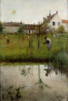 The Old Man and the New Trees Artist: Carl Larsson Completion Date: 1883 Place of Creation: Sweden Style: Impressionism Genre: genre paintin...