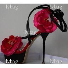 Popular Women\s red flowers platform high heel pump Dress shoes Sandal