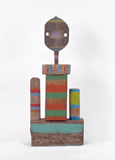 """Betty Parsons [USA] - ~ """"Head at the Top"""", Paint on found wood assemblage (height 52 cm). Art Sculpture, Sculptures, Ceramic Decor, Contemporary Artists, Design Inspiration, Abstract, Gallery, Assemblages, Painting"""