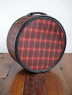 Vintage Loves Sabrina Hat Box  Style: 23855505  Beautiful vintage 1950's plaid hat box. Clasp closure. Elastic band strap inside. Lining on the inside bottom part of box is missing. Brand is Emerson.     $148