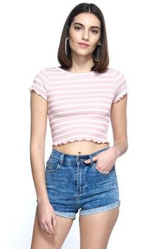 a012fd9c78484 Nobody Can Do It Like Me Stripe Ribbed Crop Top Ribbed Crop Top