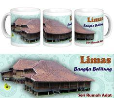 Mug Keramik tema seni budaya Indonesia, edisi khusus rumah adat Limas - Bangka Belitung.    Cocok buat hadiah / souvenir etnik nusantara.