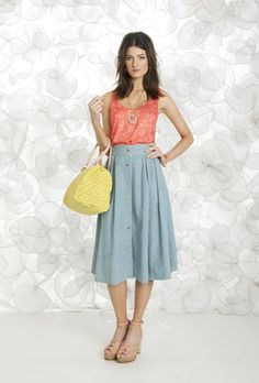 blue skirt maria filó