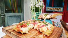 Pizza frita rellena con cubierta de queso, jamón crudo y espárragos -Cocineros Argentinos