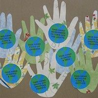 "Handprint Earth Day craft: ""This hand picks up garbage"". Love it! :)"