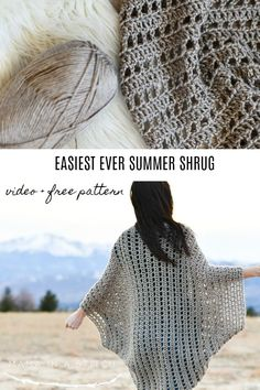 This beginner crochet shrug is so pretty and easy to make! There's a video tutorial to walk you through how to work the stitches and a free pattern with photos as well! via Mama In A Stitch Knit and Crochet Patterns - Jessica Poncho Au Crochet, Pull Crochet, Mode Crochet, Crochet Shawls And Wraps, Single Crochet Stitch, Crochet Geek, Crochet Scarves, Crochet Crafts, Crochet Clothes