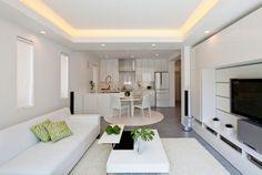 moderne zen küche wohnzimmer weiß abgehängte decke